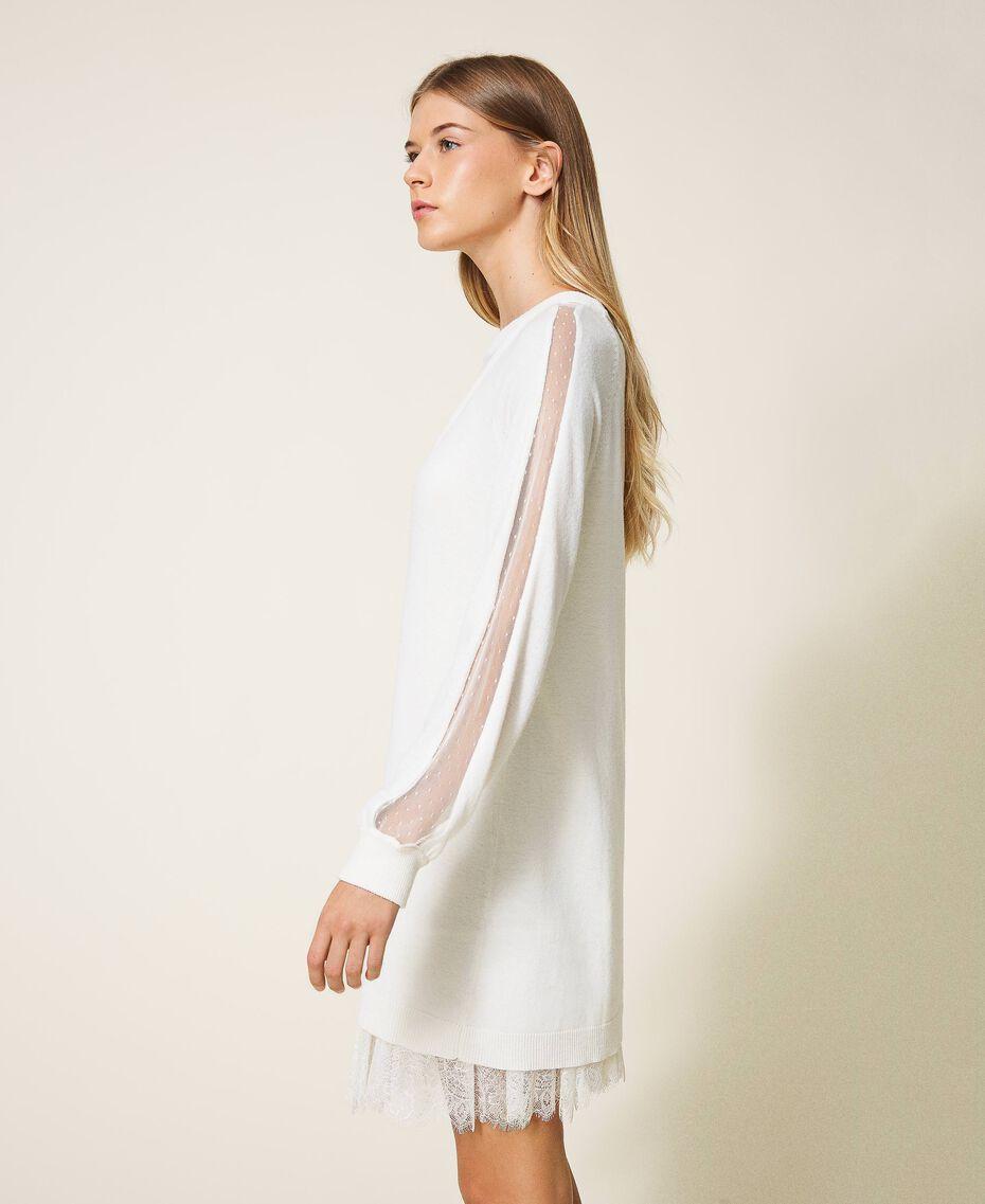 Robe en laine mélangée avec fond de robe Blanc Neige Femme 202TT3132-02
