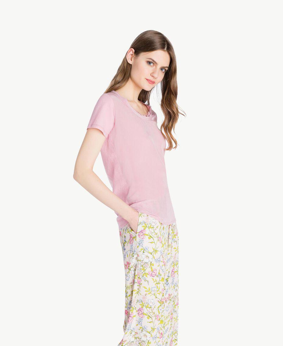 Silk T-shirt Hydrangea Pink Woman PS82HB-02
