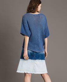 Pull réversible avec encolure en V Bleu cobalt Femme 191MT3011-03