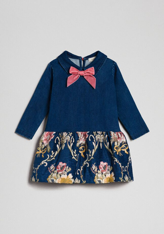 Denim effect plush dress with floral brocade