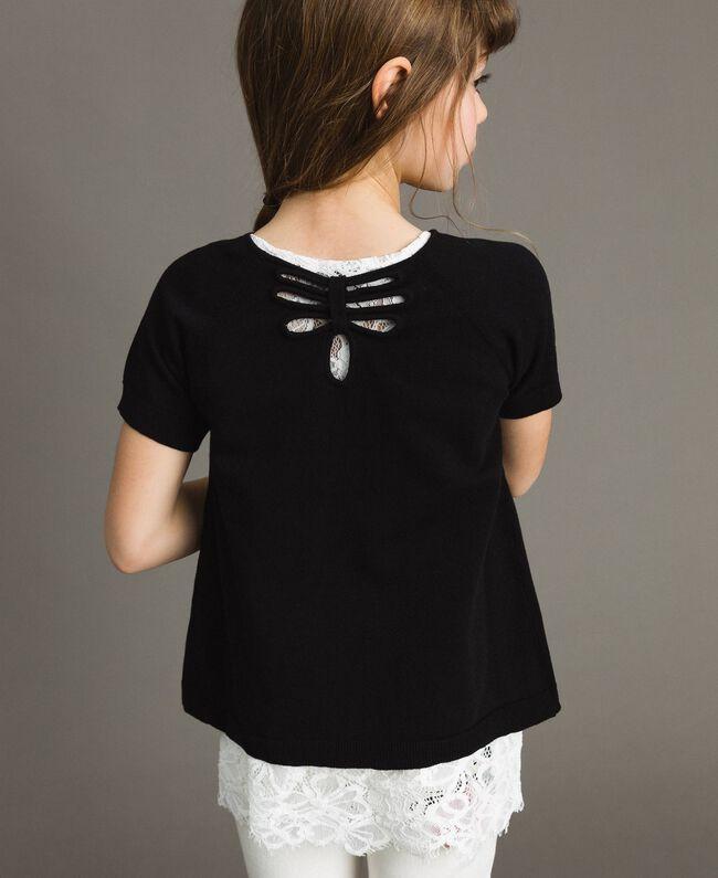Pullover aus Baumwolle und Spitzen-Top Zweifarbig Schwarz / Off White Kind 191GJ3020-04