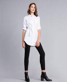 "Stretch poplin long shirt ""Ice"" White Woman JA82JA-01"