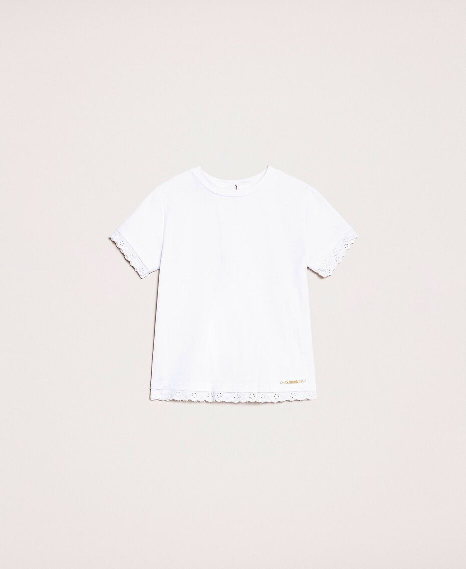 """T-shirt with broderie anglaise embroidery """"Papers"""" White Child 201GB2230-01"""