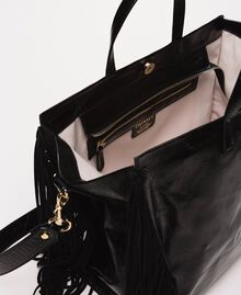 Large leather shopper with fringes Nougat Beige Woman 201TO8140-04