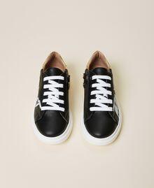 Sneakers de dos colores con logotipo Bicolor Negro / Oro Niño 212GCJ050-05