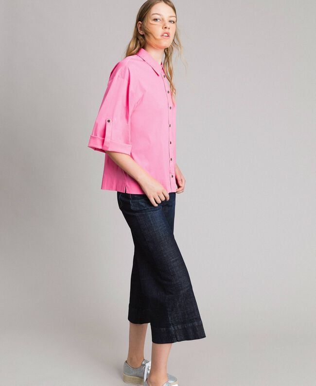 Weite Dreiviertel-Jeans Denimblau Frau 191MP2470-03