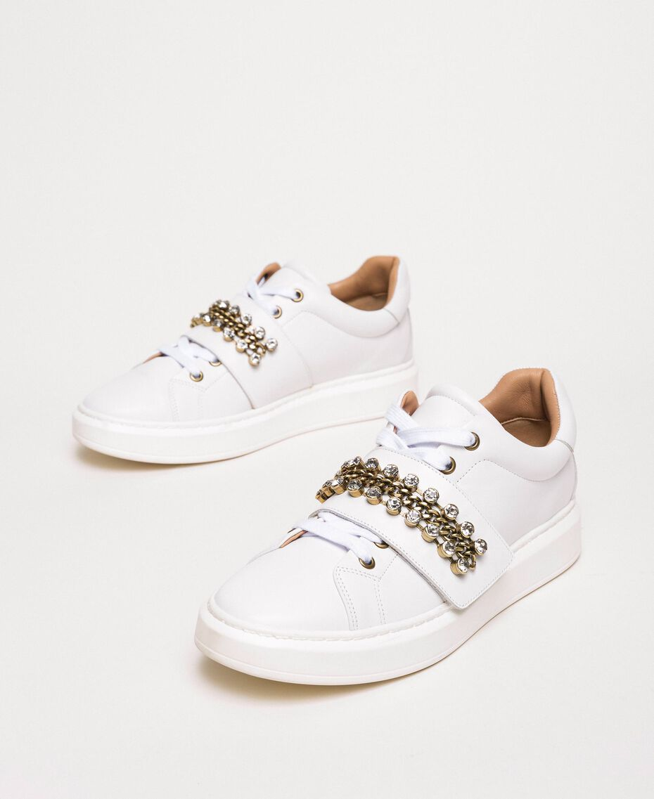 Leather trainers with bezels White Woman 201TCP094-02
