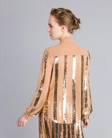 Chemise en crêpe georgette avec paillettes Chameau Femme PA82J2-04