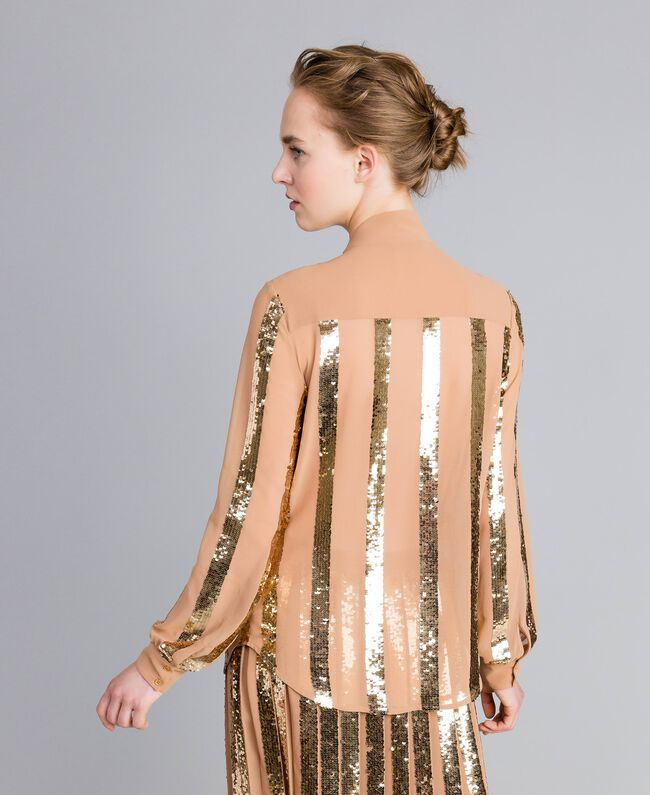 Georgette sequin shirt Camel Woman PA82J2-04