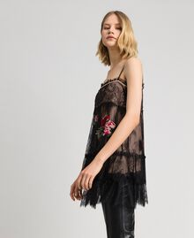 Valenciennes lace top with floral thread embroidery Black Woman 192TP2588-01