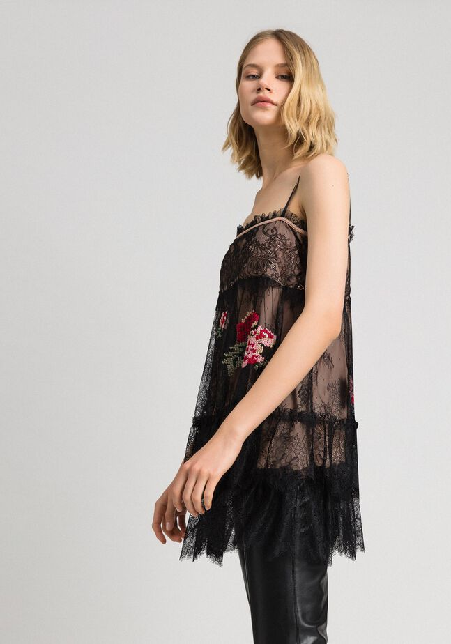 Valenciennes lace top with floral thread embroidery