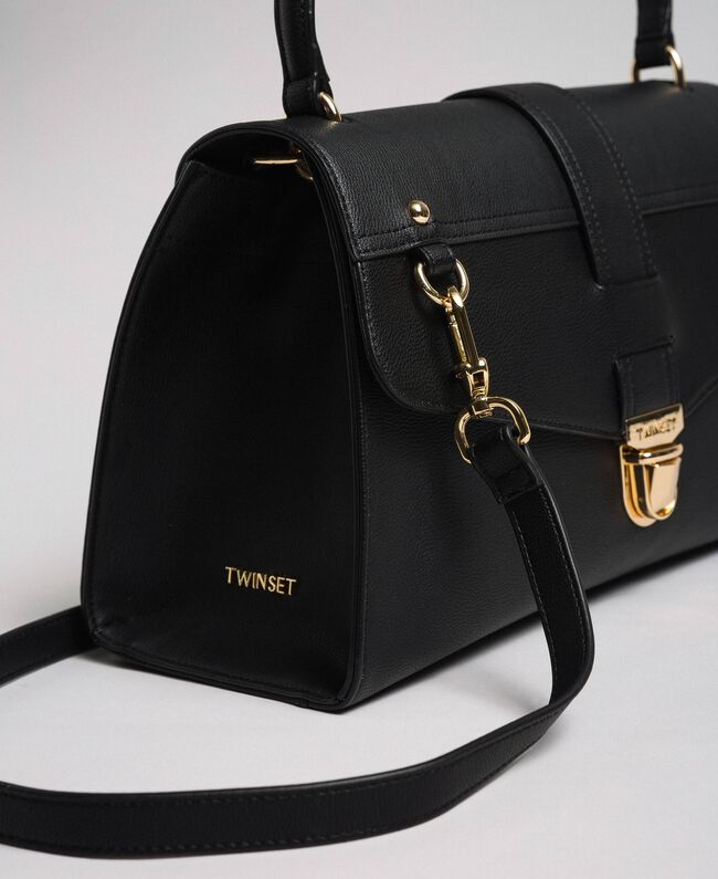 Faux leather satchel bag with flap Black Woman 192TA7130-04