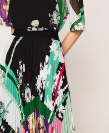 Pleated georgette midi skirt Black Scarf Print Woman 201MP2363-04