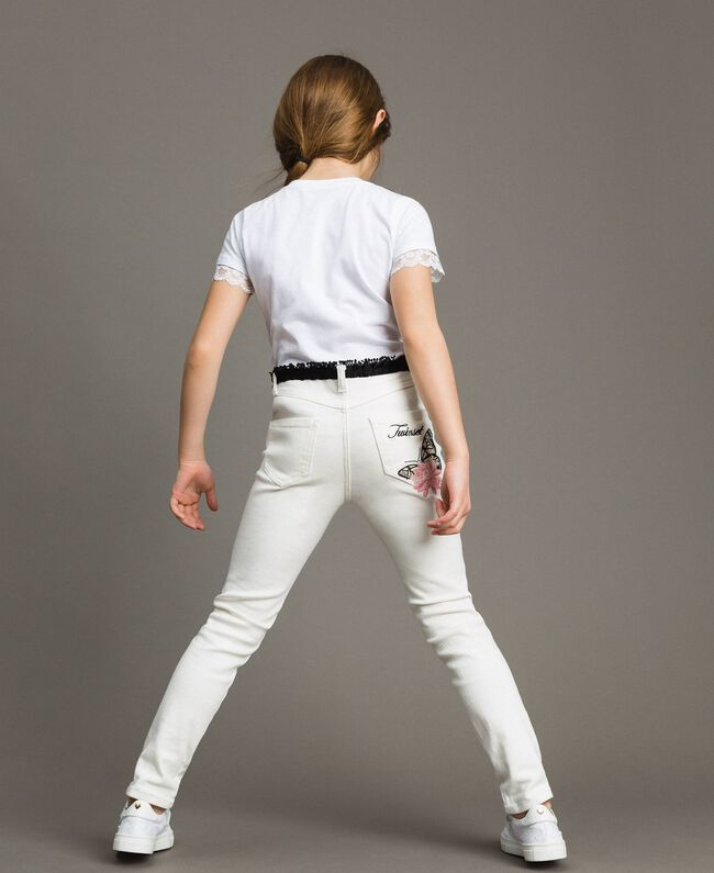 Bull skinny trousers with embroideries Off White Child 191GJ2580-03