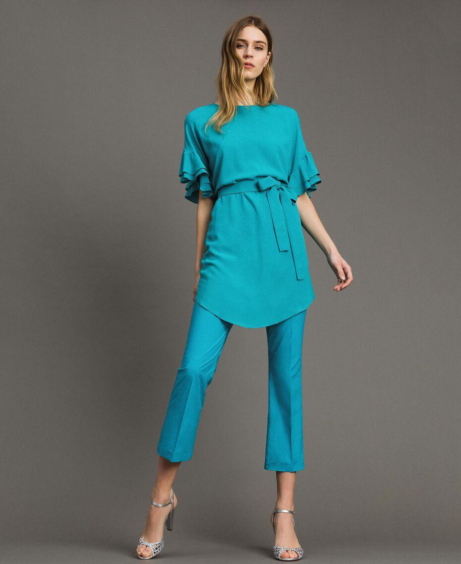 Kleid mit Volants aus Seidenmischung Keramikblau Frau 191TT2074-0T