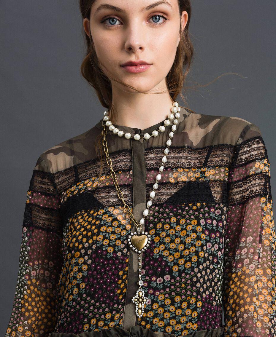 Sautoir avec chaînes, cœur et croix Laiton Usé Femme 192TO530C-0S