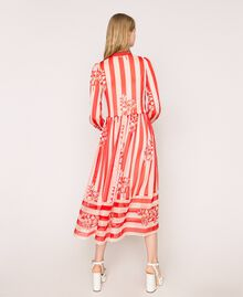 Long creponne dress with stripe and flower print Floral Print over Snow/ Black Stripes Woman 201TP2300-03