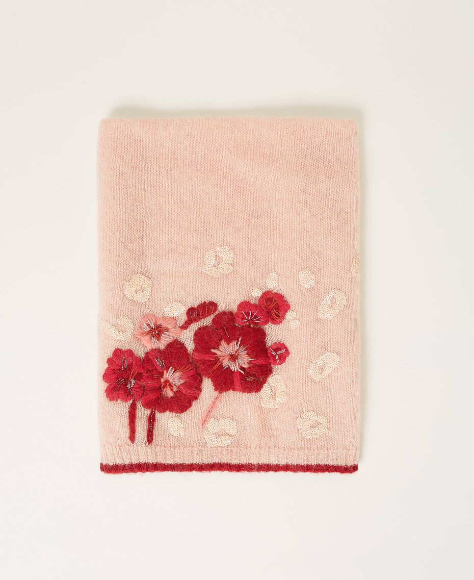 Knit scarf with flowers and sequins Peach Woman 202TA4411-01