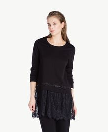 Sweat-shirt dentelle Noir Femme LS8CFF-02