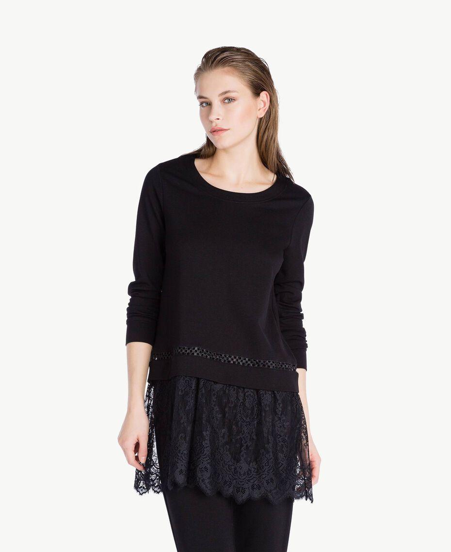 Sweatshirt aus Spitze Schwarz Frau LS8CFF-02