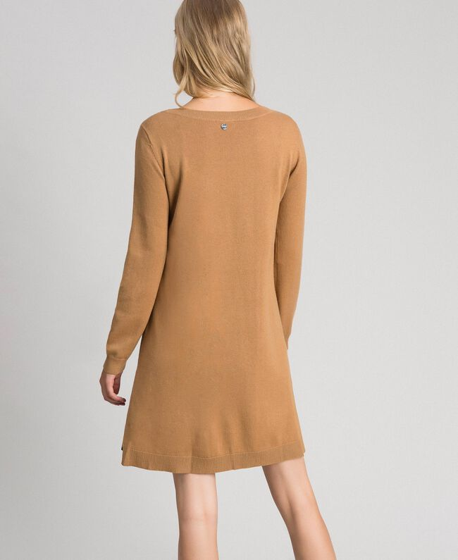 "Wool and cashmere dress with faux leather ""Sequoia"" Beige Woman 192ST3151-03"