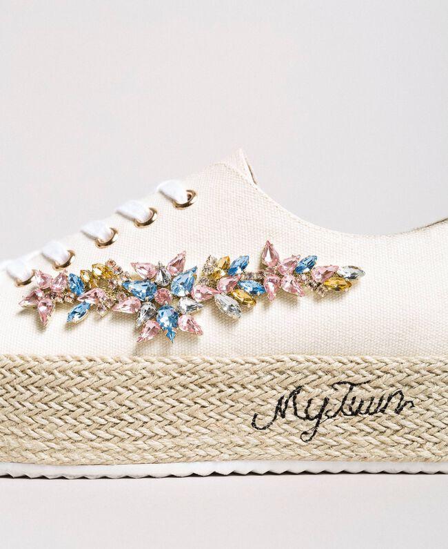 Sneakers con pietre applicate e logo Porcellana Beige Donna 191MCP03A-03