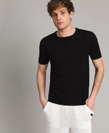 T-Shirt aus Slub-Baumwollmischung Schwarz Mann 191UT3071-01