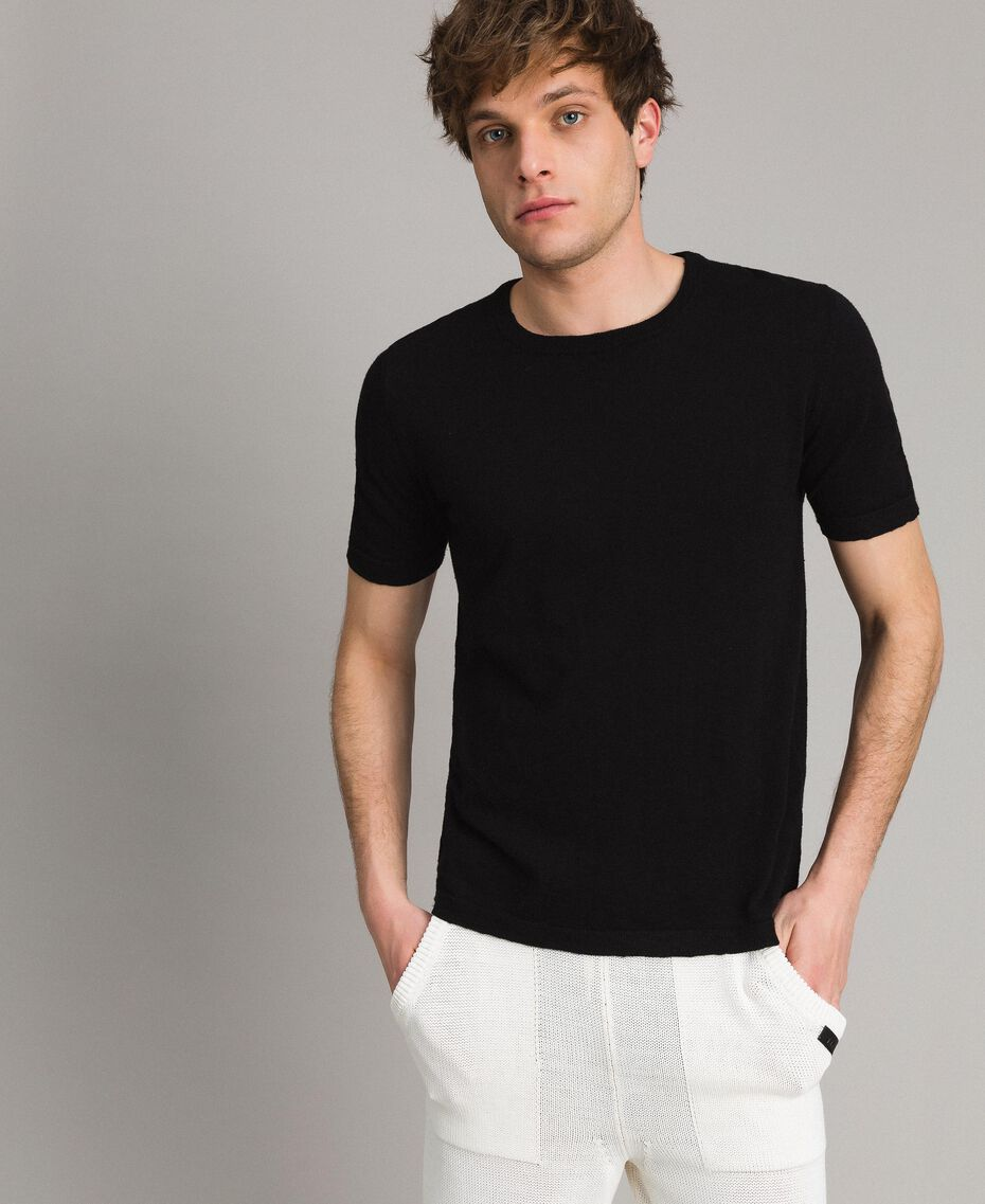 T-shirt en coton mélangé flammé Noir Homme 191UT3071-01