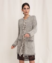 Twisted yarn jacket with lurex Multicolour Ivory / Black Woman 201TP3160-02