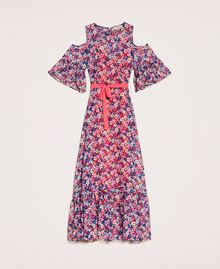 Floral chiffon full-length gown Violet Print Woman 201TP2544-0S
