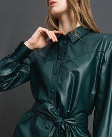 Robe chemisier longue en similicuir Noir Femme 192ST2010-04