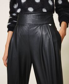 High waist faux leather trousers Black Woman 202TP2061-05