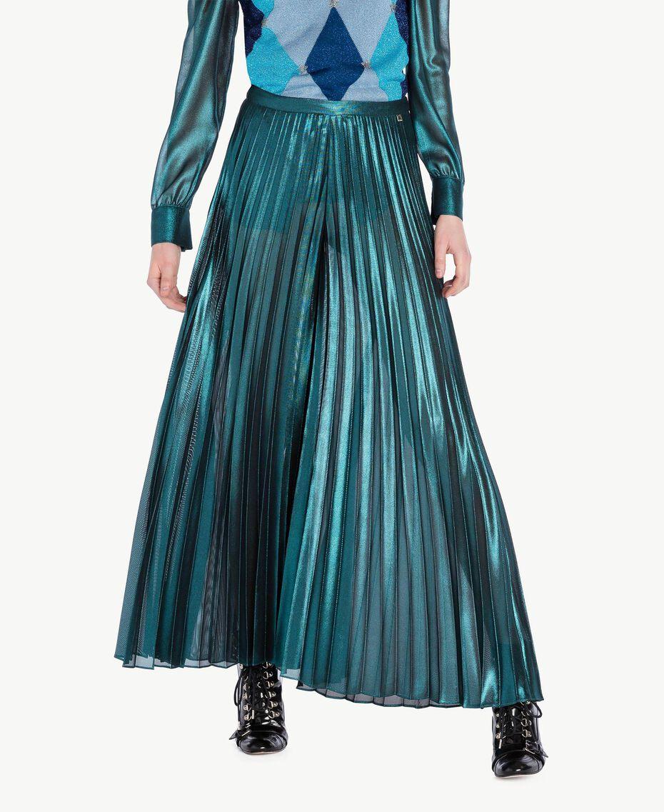 Pleated palazzo pants Metallic Turquoise Woman PS82QQ-01