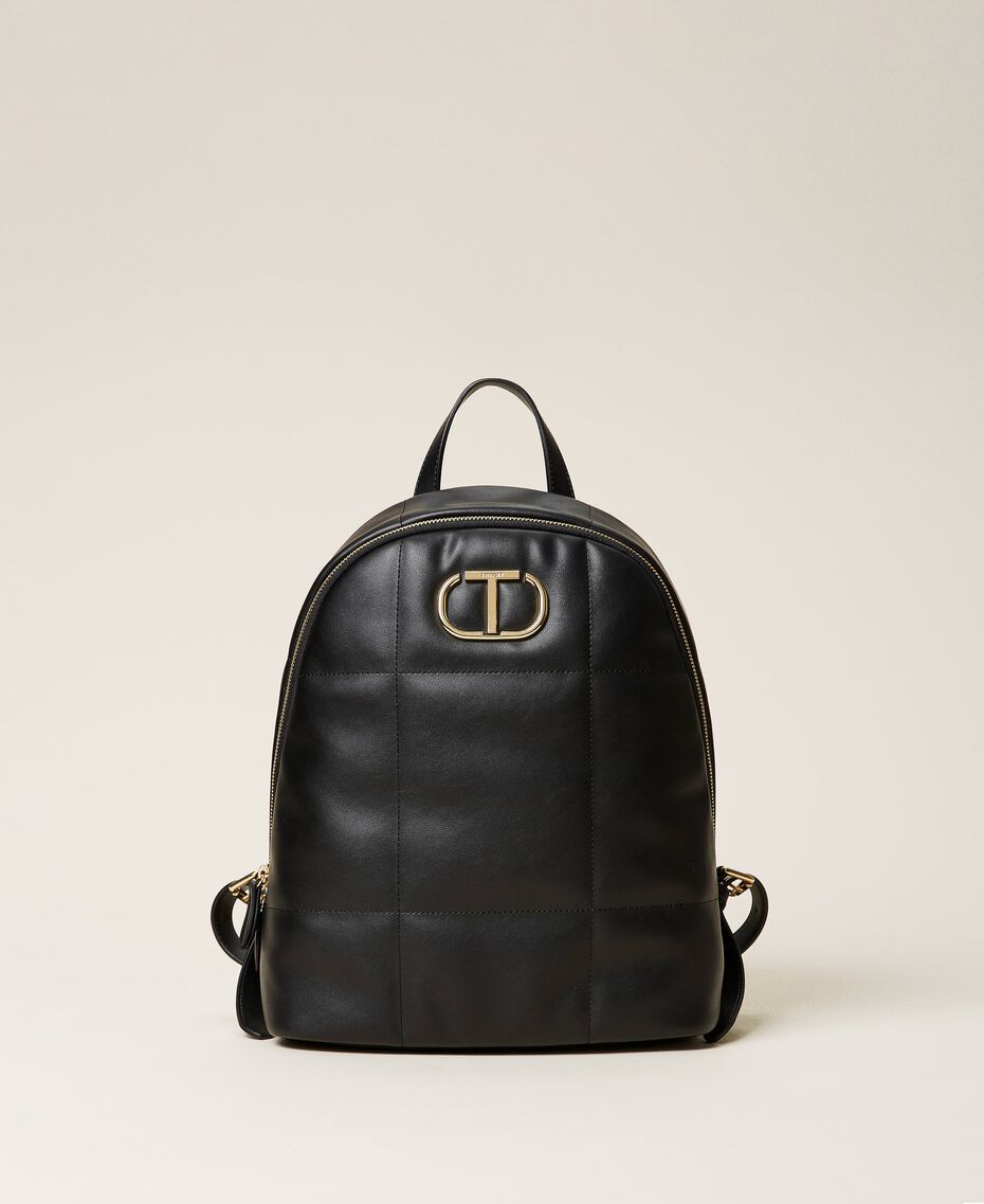 Quilted backpack with logo Black Woman 212TB7250-01