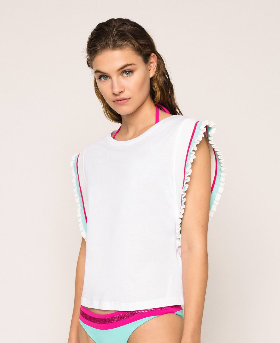 T-shirt with multicolour stripes White Woman 201LM2CHH-01