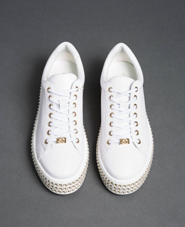 Platform sole trainers with pearls White Woman 192TCP06J-05