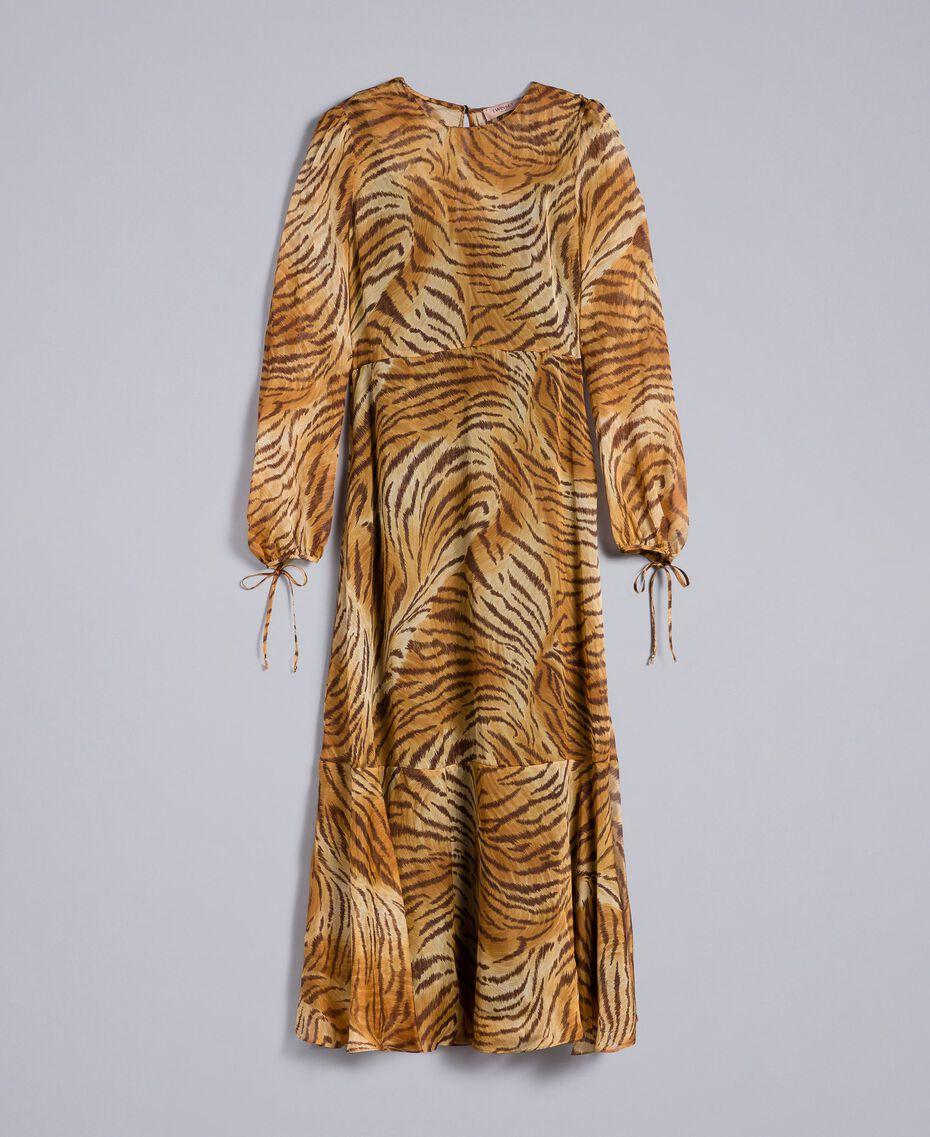 Vestido largo de seda estampada Estampado Tigre Mujer TA8254-0S