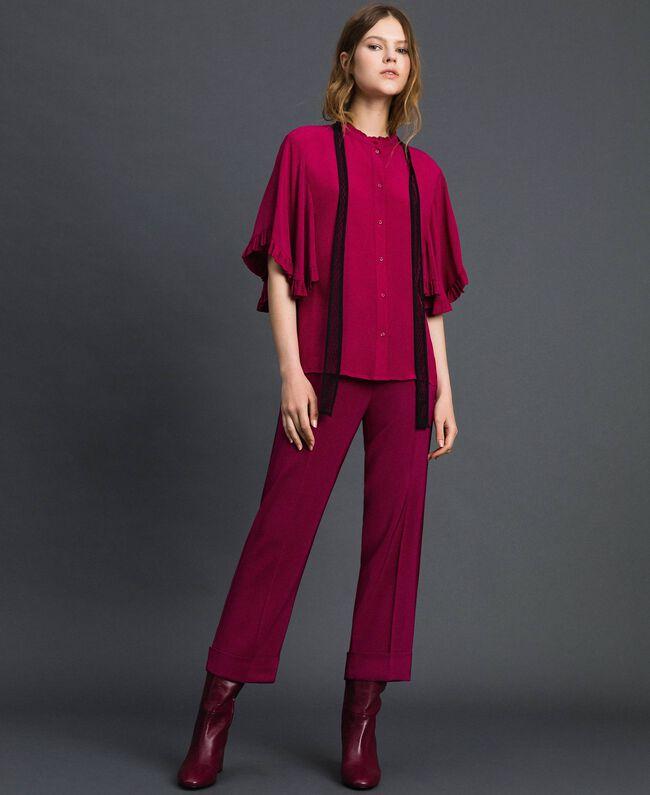 Chemise en crêpe de Chine de soie mélangée Rouge Betterave Femme 192TP2260-04