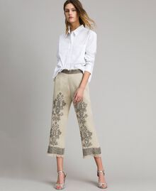 """Linen trousers with beads and sequins """"Sand"""" Beige Woman 191TT2061-03"""