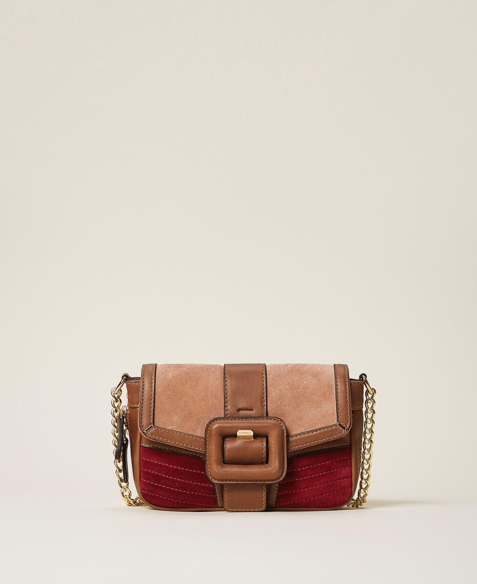 Suede and smooth leather small Rebel shoulder bag Multicolor Nude / Cherry Red / Leather Brown Woman 202TB7053-01
