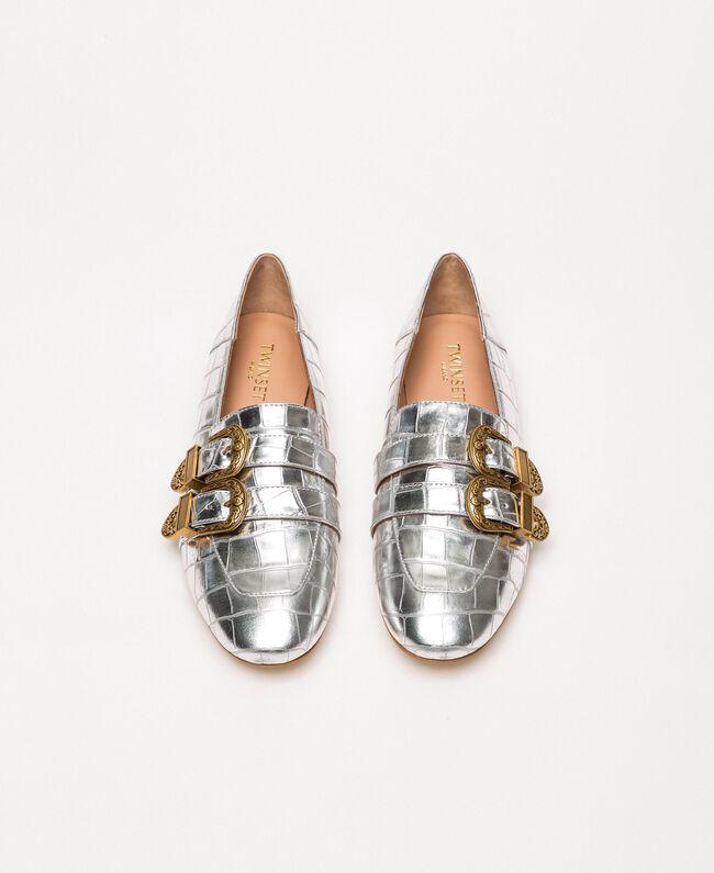 "Leather moccasins with crocodile print ""Titanium"" Grey Croc Print Woman 201TCP050-05"