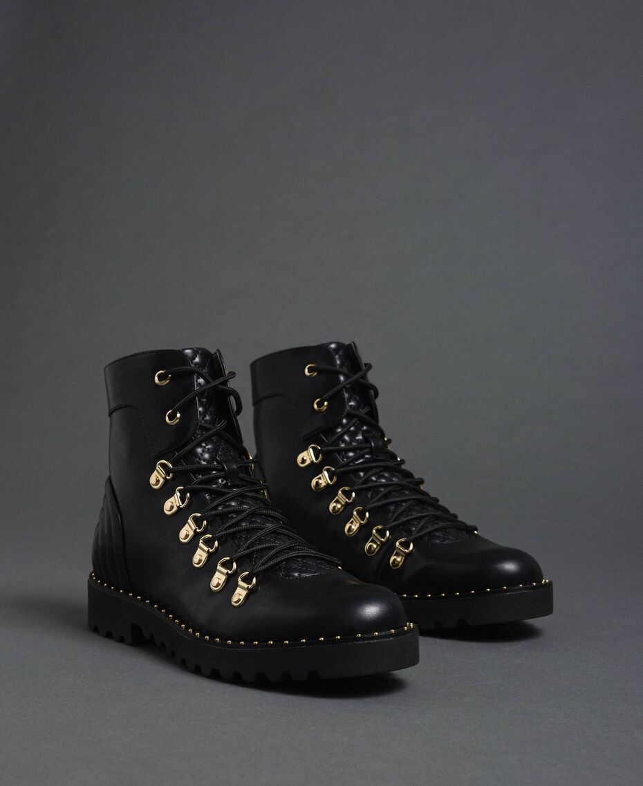 Combat boots with trekking-style fastening Black Woman 192MCP09A-01