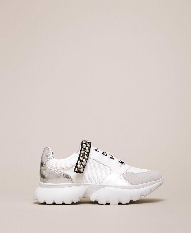 Кроссовки с декоративной деталью Белый Ваниль женщина 201MCP092-01