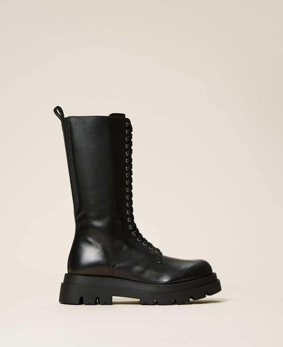 High top leather combat boots Black Woman 212TCP230-01