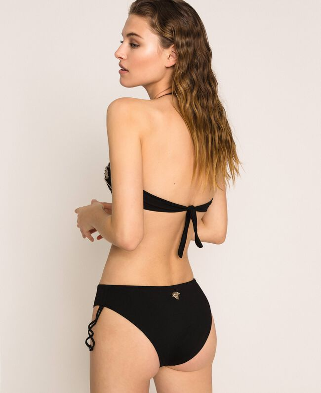 Bandeau bikini top with embroidery Black Woman 201LBM511-03