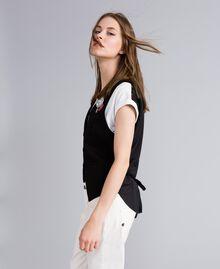 Gilet en point de Milan avec broches Noir Femme JA82NB-02