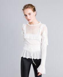 Pullover mit Mustermix in Spitzenoptik Weiß Schnee Frau PA83C6-01