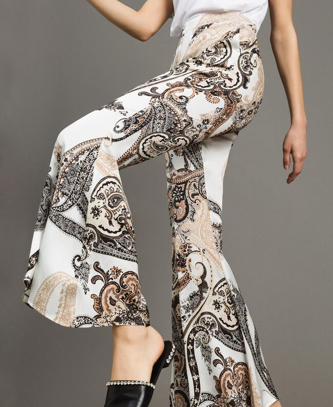 "Paisley print palazzo trousers ""Milkyway"" Beige / Paisley Print Woman 191LM2SAA-01"