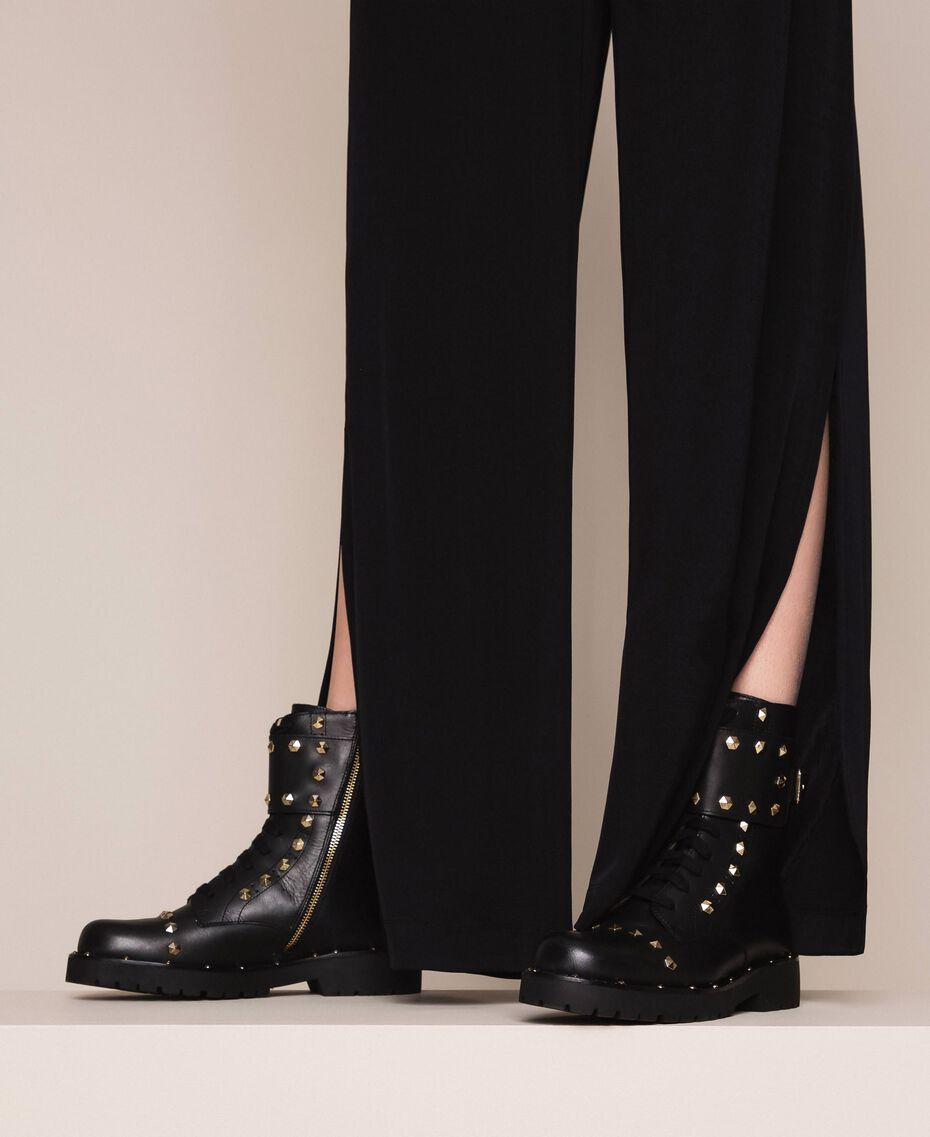 Кожаные ботинки-амфибии с заклепками Черный женщина 999TCP020-0S