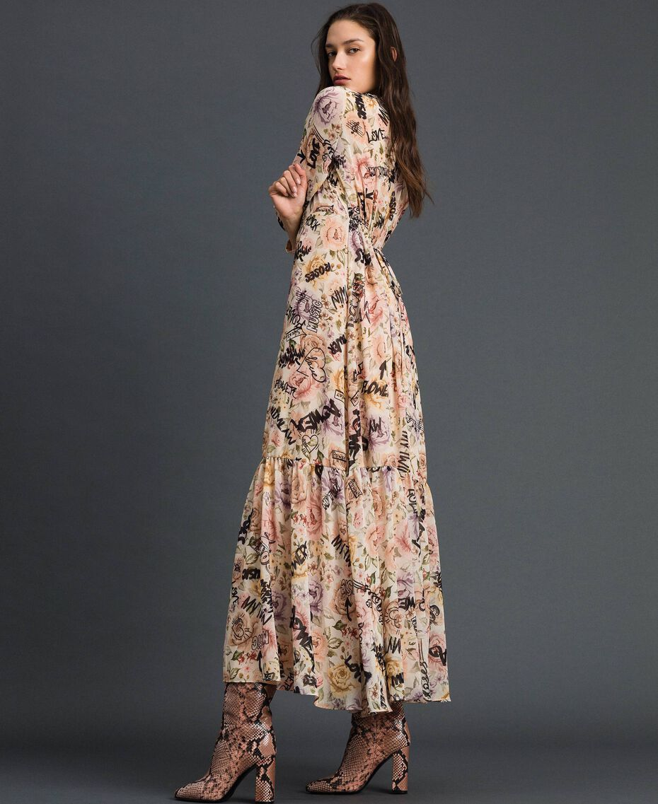 Long dress with floral and graffiti print Vanilla Flower Graffiti Print Woman 192MP2221-02